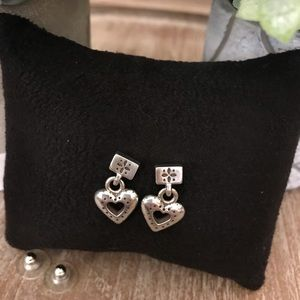 BRIGHTON Silver Etched Heart Drop Earrings